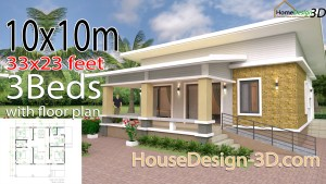 House Design 3d 10x10 Meter 33x33 Feet 3 Bedrooms Shed roof