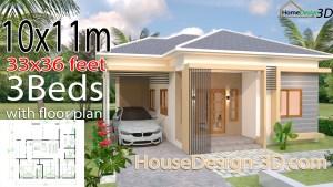 House Design 3d 10x11 Meter 33x36 Feet 3 Bedrooms Hip Roof