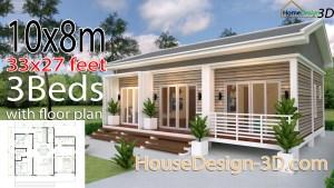 House Design 3d 10x8 Meter 27x34 Feet 3 Bedrooms Gable roof