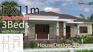 House Design 3d 12x11 Meter 39x36 Feet 3 Bedrooms Hip Roof