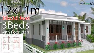 House Design 3d 12x11 Meter 39x36 Feet 3 Bedrooms Terrace Roof