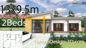 House Design 3d 13x9.5 Meter 43x31 Feet 2 Bedrooms Shed roof