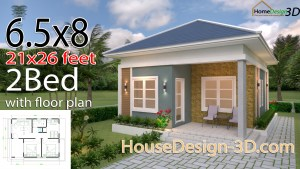 House Design 3d 6.5x8 Meter 21x26 Feet 2 Bedrooms Hip Roof