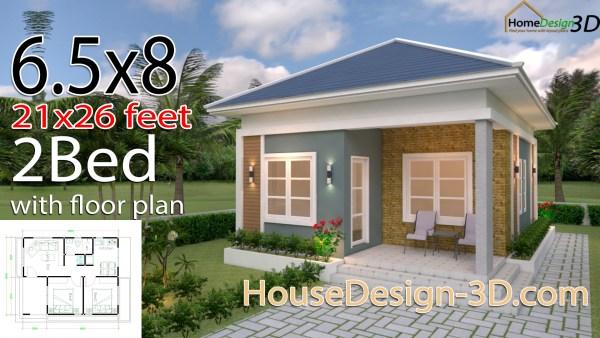 House Design 3d 6.5x8 Meter 21x26 Feet 2 Bedrooms Hip Roof