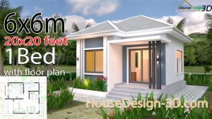 House Design 3d 6x6 Meter 20x20 Feet One Bedrooms Hip Roof