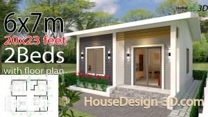 House Design 3d 6x7 Meter 20x23 Feet 2 Bedrooms gable Roof