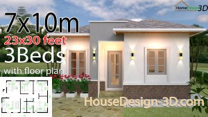 House Design 3d 7x10 Meter 23x33 Feet 3 Bedrooms Hip Roof