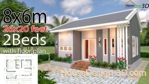 House Design 3d 8x6 Meter 26x20 Feet 2 Bedrooms Gable roof