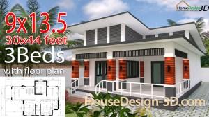 House Design 9x13.5 Meter 30x44 Feet