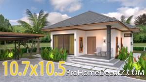 House Design 3d 10.7x10.5 Meter 35x34 Feet 2 Bedrooms Hip roof