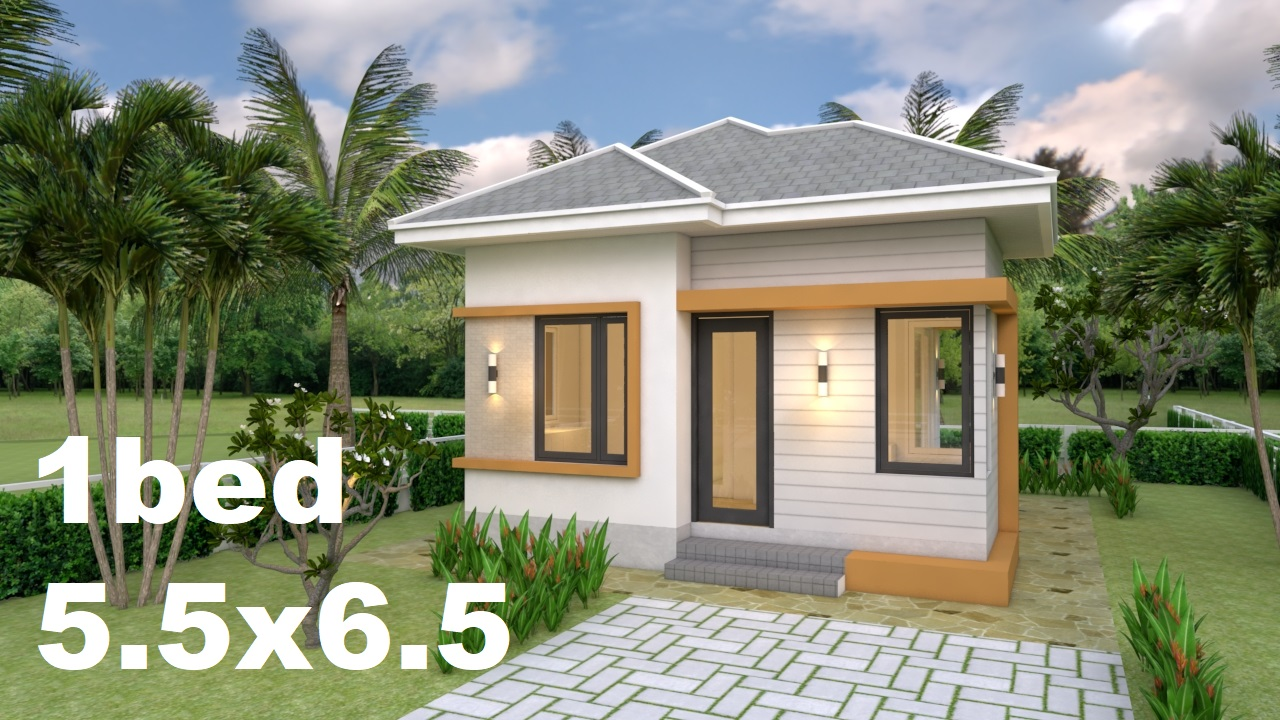 Small House Plans 5 5x6 5 With One Bedroom Hip Roof House Design 3d