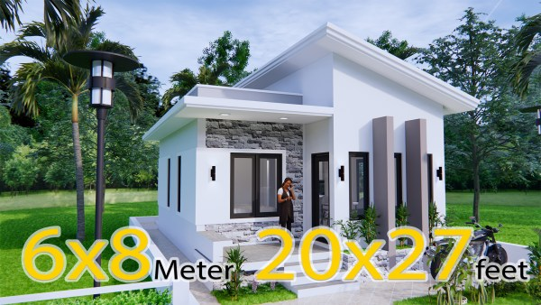 Small House Design 6x8 Meter 20x27 Feet Shed Roof
