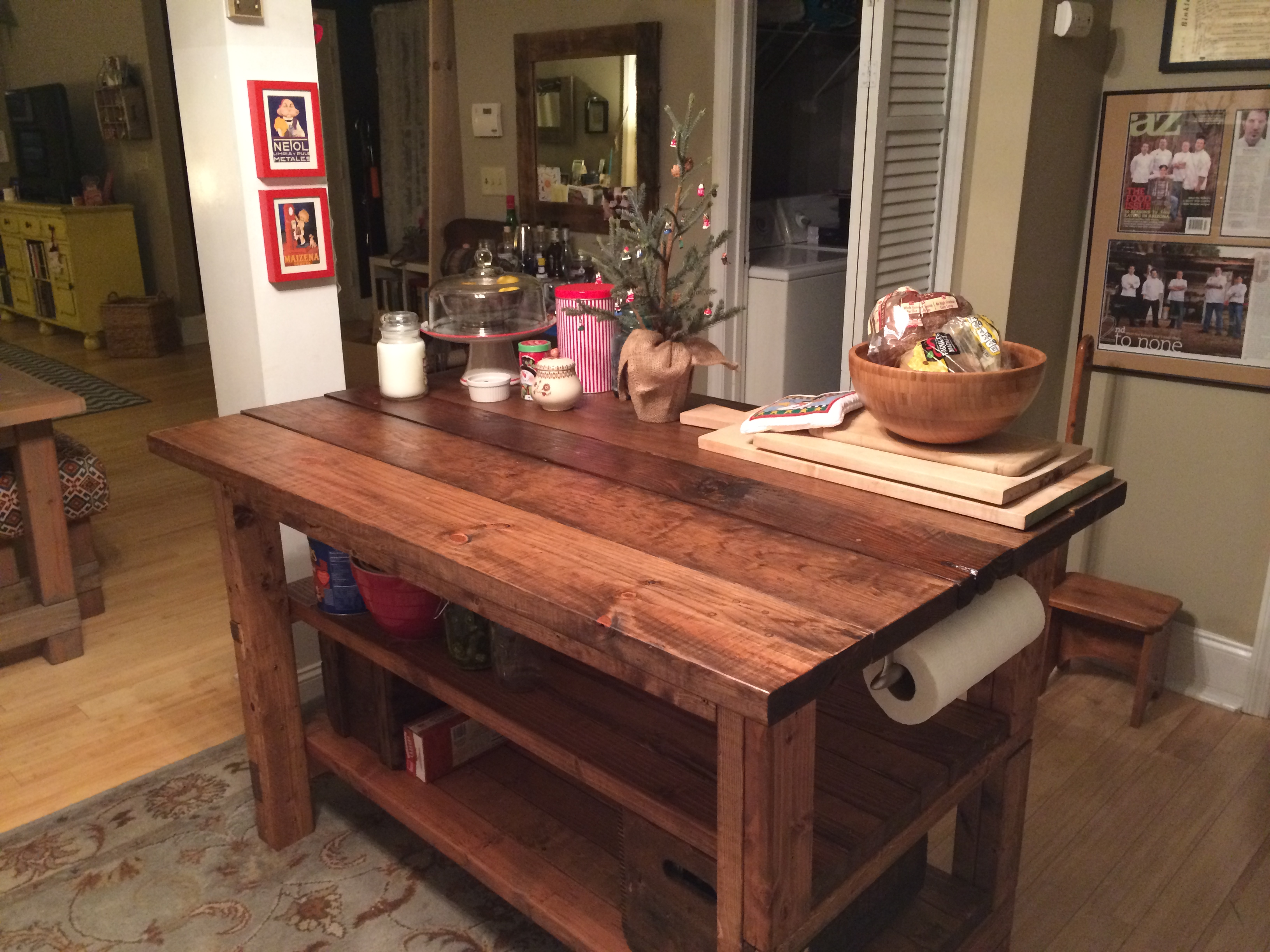 Hand Built Rustic Kitchen Island || House. Food. Baby.