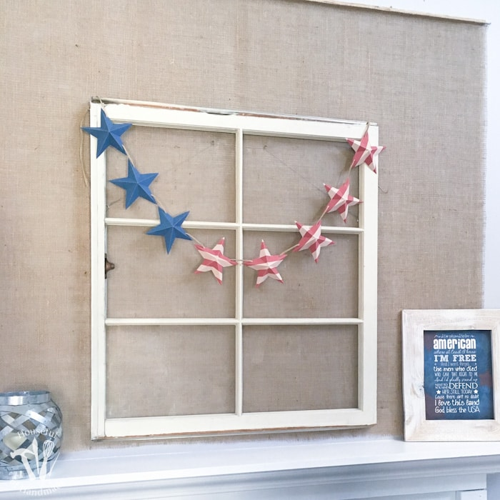 Decorate for a summer of barbecues and July 4th with this free printable stars and stripes patriotic banner. A quick 10 minute craft so you can get back to your summer. | Housefulofhandmade.com