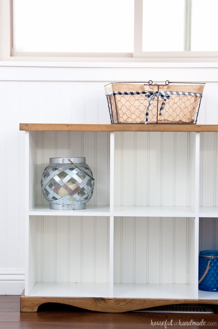 Farmhouse Console Table DIY From Cube Bookcase A