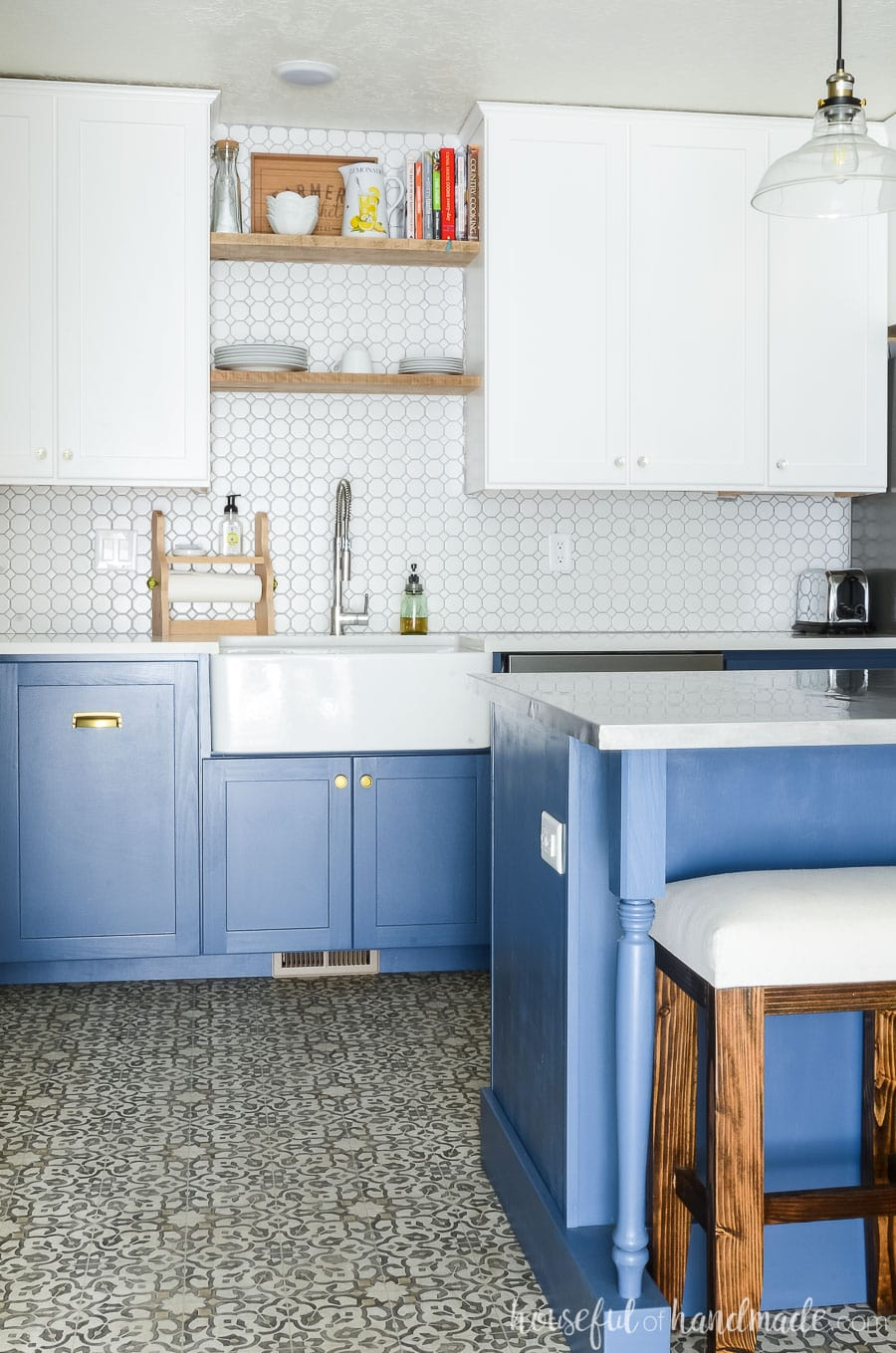 Blue Amp White Two Tone Kitchen Reveal Houseful Of Handmade