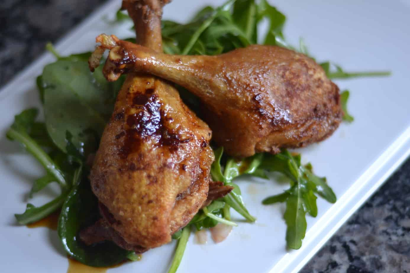 Skillet Duck with Spinach & Arugula Salad