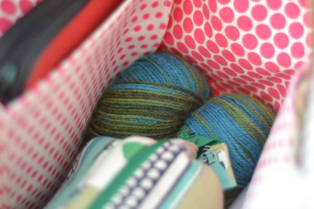 Maker's Tote by Noodlehead is the perfect pattern for those who want to knit or craft on the go. It can also double as a weekender!
