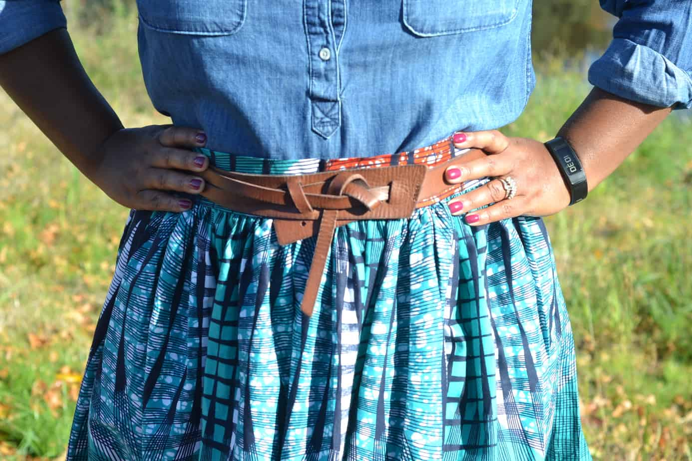 Ankara maxi skirt with chambray shirt