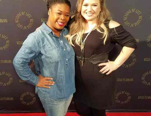 Natasha Nicholes and Kelly Clarkson discussing Clarkson's new album, Meaning of Life