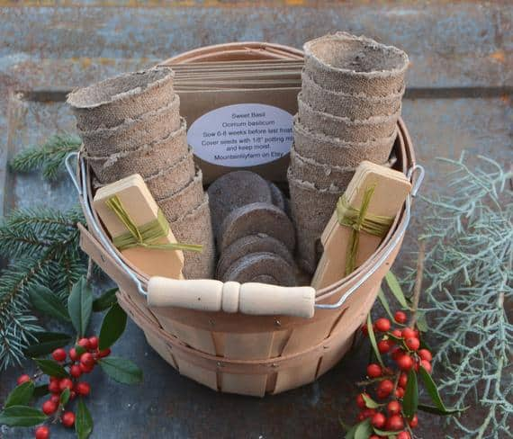 Herb Garden Gift Basket, Heirloom Seeds in Harvest Basket, Great Gift for Gardener or Gift for Mom, Garden Kit for Herbs, Hostess Gift Set from Mountainlily Farm
