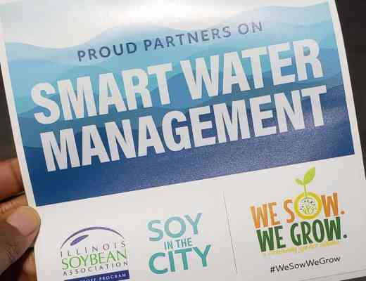 Smart Water Retention Sticker showcasing We Sow We Grow and Illinois Soybean Association