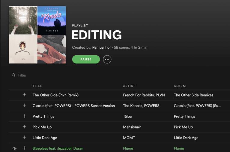 photo editing Spotify work playlist