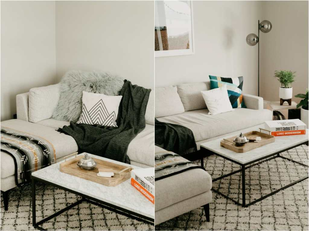 west elm andes couch and marble coffee table