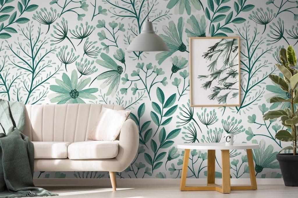 mint green floral wallpaper