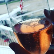 DD is a frequent business flyer so we kicked off our holiday in style in the Qantas First Lounge with complimentary pink bubbles.