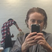"""Waiting for a haircut at my salon. My hairdresser of 20 years, Mark, was off sick so I """"cheated"""" on him with a lovely bloke called David."""