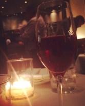 Drinking port at Michael Mina restaurant.