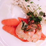 Entree was Piallago Estate cold-smoked salmon, poached prawns, celeriac remoulade, capers and dill.