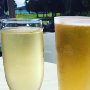 His 'n' hers bevvies at the golf club: French champers for me and a Peroni for him.
