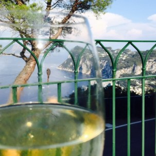 Arty wine with view shot.