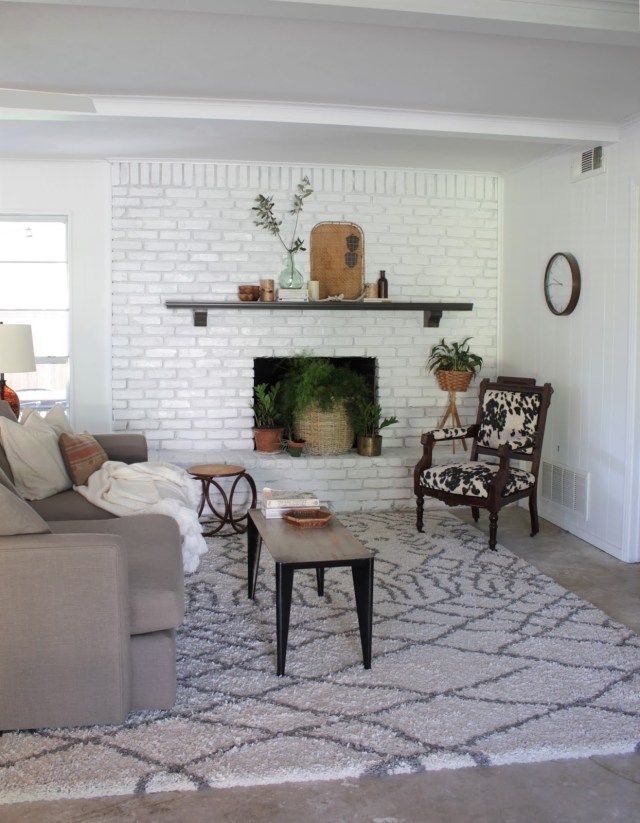 sherwin williams extra white painted fireplace