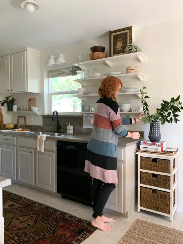 budget friendly kitchen makeover: open shelving, concrete counters, grout refinish