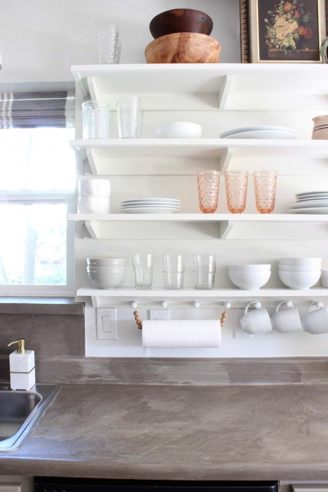 budget friendly kitchen makeover DIY open shelving