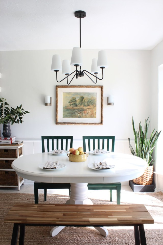 budget friendly kitchen makeover: breakfast nook 'origami white' walls