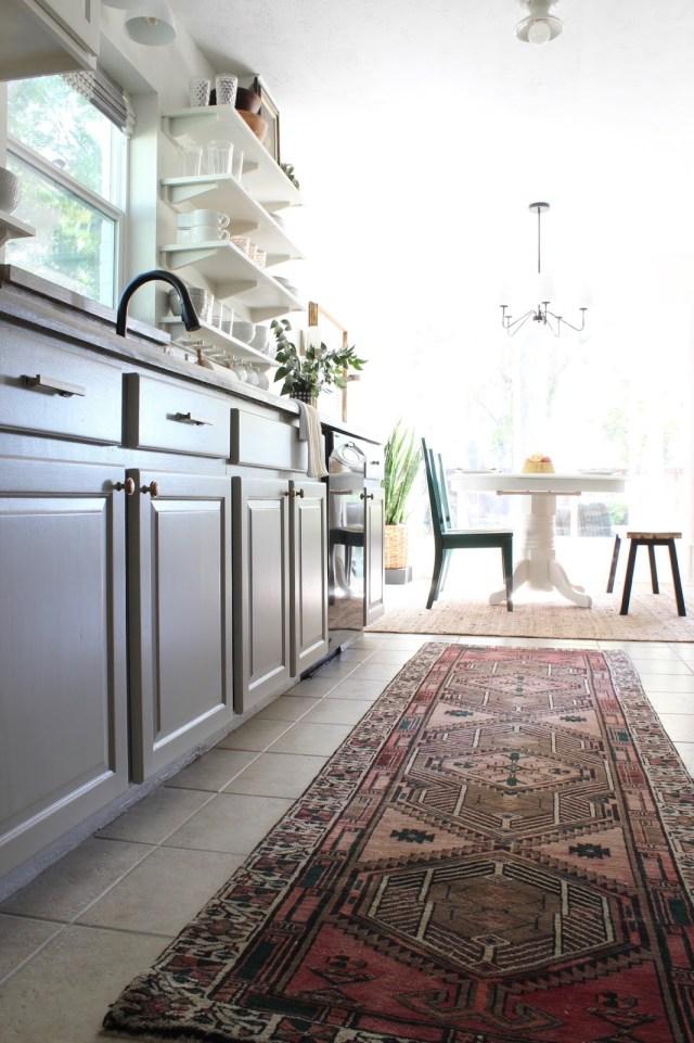 budget friendly kitchen makeover: vintage red rug runner