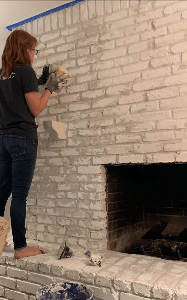 process of overgrouting fireplace