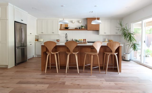 aesthetic white cabinets special walnut island stacked tiles modern scandi kitchen