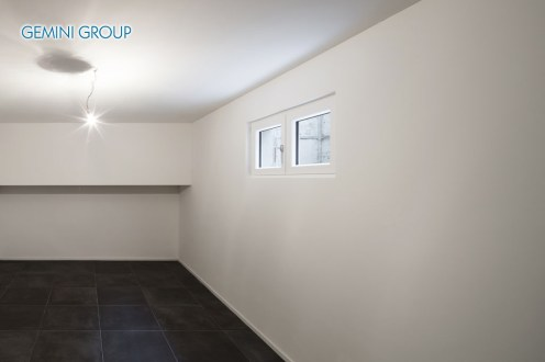Architecture, modern house, empty room with tiled floor black
