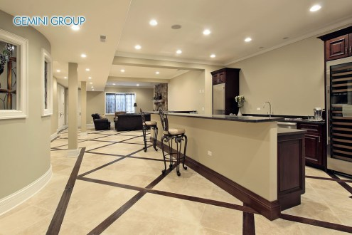 Lower level in luxury home with bar area