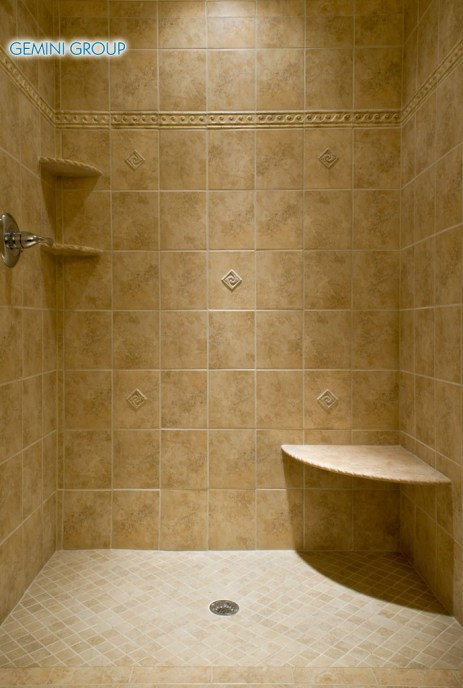 A custom made travertine tile shower.
