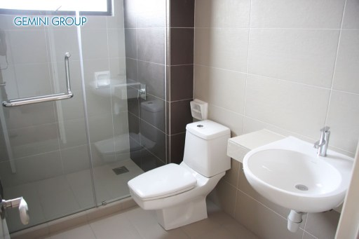 Modern clean toilet bathroom interior with white porcelain