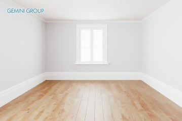 Blank simple interior room background empty white walls corner and white wood floor contemporary,3D rendering.