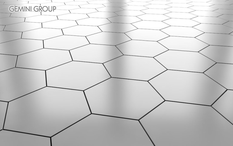 White glossy hexagon ceramic tile floor background. 3d rendering