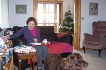 Gran opening her stocking.