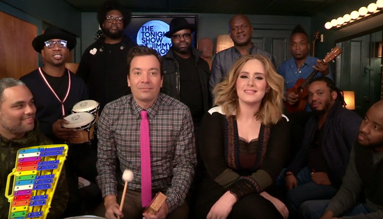 "Video: Adele, Jimmy Fallon & The Roots Play ""Hello"" with Classroom Instruments"